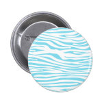 Blue Zebra stripe pattern Buttons