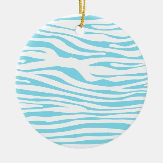 Blue Zebra stripe pattern Ceramic Ornament