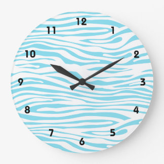 Blue Zebra stripe pattern Large Clock