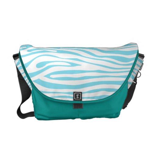 Blue Zebra stripe pattern Messenger Bags