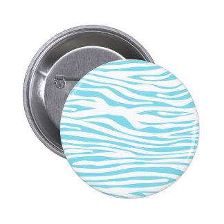 Blue Zebra stripe pattern Pinback Button