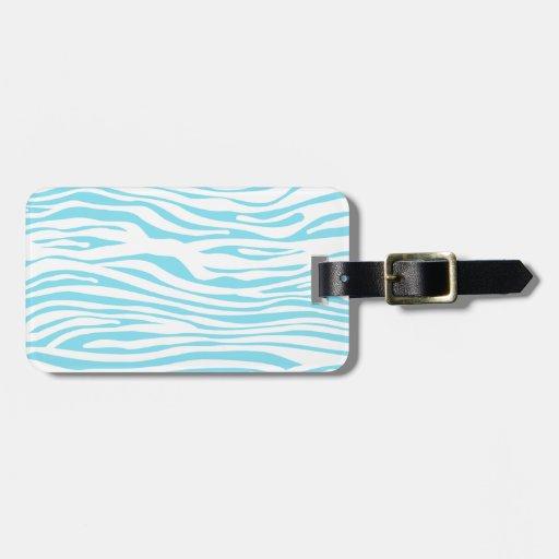Blue Zebra stripe pattern Tags For Bags
