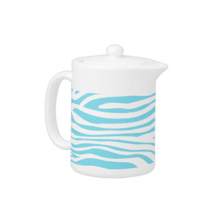 Blue Zebra stripe pattern Teapot
