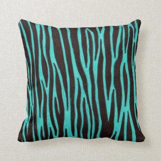 Blue zebra stripe throw pillow