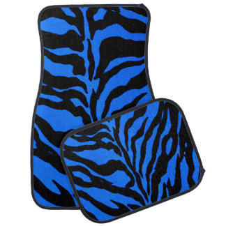 Blue Zebra Striped Animal Print Car Mats