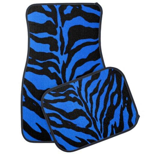 Blue zebra striped animal print car mats floor mat for Zebra print flooring