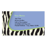Blue Zebra striped business with green trim Double-Sided Standard Business Cards (Pack Of 100)