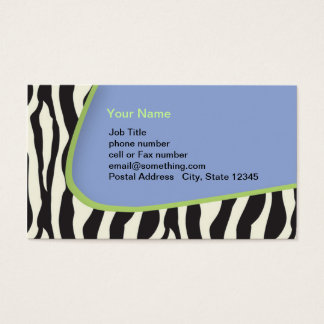 Blue Zebra striped business with green trim Business Card