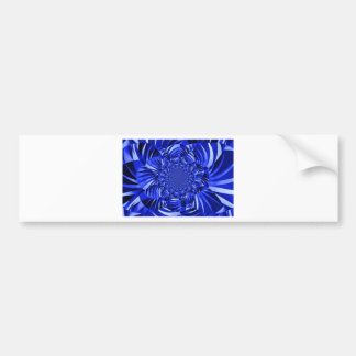 Blue zebra striped flower bumper sticker