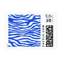 Blue Zebra Stripes Animal Print Postage