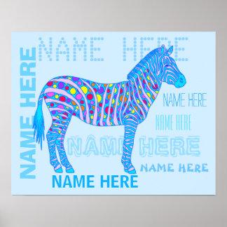 Blue Zebra Stripes Dots 20 x 16 Name Collage Poster