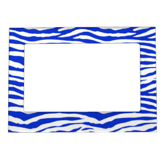Blue Zebra Stripes Magnetic Photo Frame