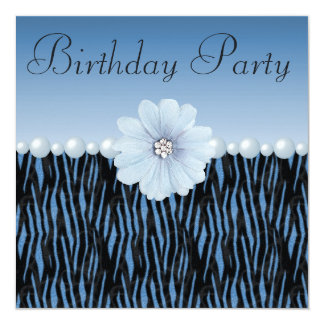 Blue Zebra Stripes, Pearls & Flower Birthday Party Card
