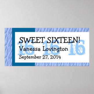 Blue Zebra Sweet 16 Celebration Gift Set Poster