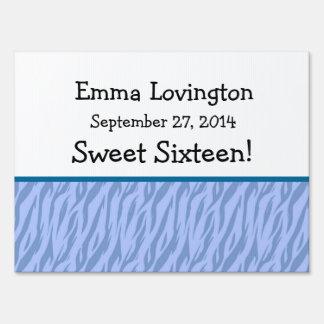 Blue Zebra Sweet 16 Celebration Gift Set Sign