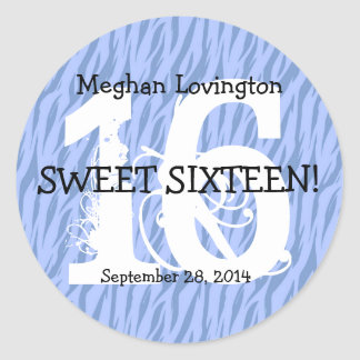 Blue Zebra Sweet 16 Celebration Gift Set Classic Round Sticker