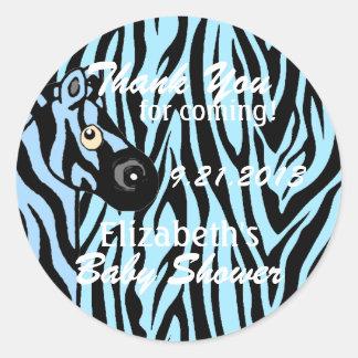 Blue Zebra Themed Baby Shower Classic Round Sticker