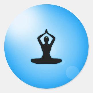 Blue Zen Meditation Classic Round Sticker