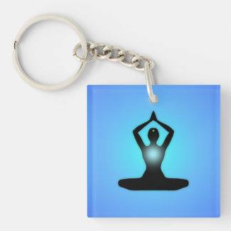 Blue Zen Meditation Sunburst Keychain