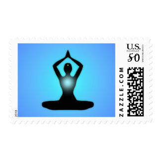 Blue Zen Meditation Sunburst Postage