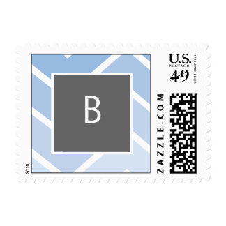Blue Zig Zag Chevrons Monogram Stamp