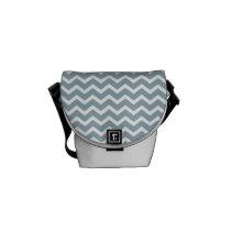 Blue Zig Zag Chevrons Pattern Messenger Bag
