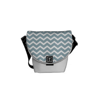Blue Zig Zag Chevrons Pattern Courier Bags