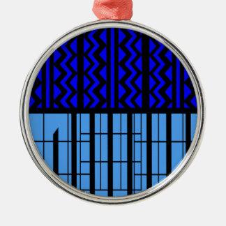 Blue zig zag cubic metal ornament
