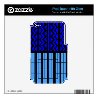 Blue zig zag cubic skins for iPod touch 4G