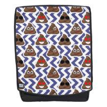 Blue Zig Zag Emoji Poop Backpack Bag