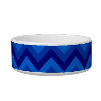 Blue Zig Zag Pattern. Cat Water Bowl
