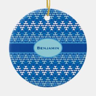 Blue Zigzag Ceramic Ornament