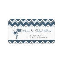 Blue Zigzag Palm Trees Wedding address labels