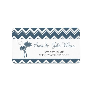 Beach Themed Blue Zigzag Palm Trees Wedding address labels