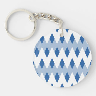 Blue Zigzag Pattern with Diamond Shapes. Keychain