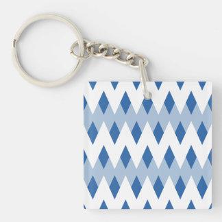 Blue Zigzag Pattern with Diamond Shapes. Single-Sided Square Acrylic Keychain