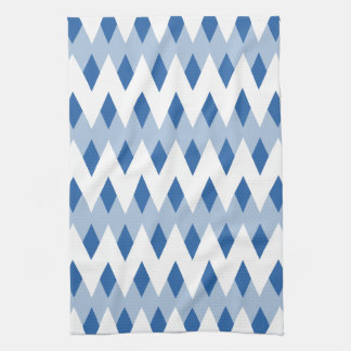 Blue Zigzag Pattern with Diamond Shapes. Kitchen Towels