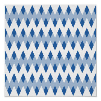 Blue Zigzag Pattern with Diamond Shapes. Poster