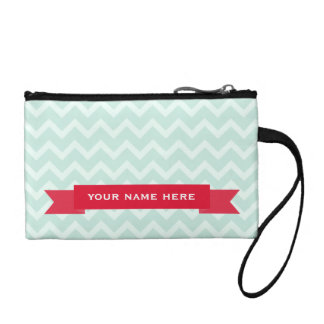 Blue Zigzag & Red Banner Coin Purse