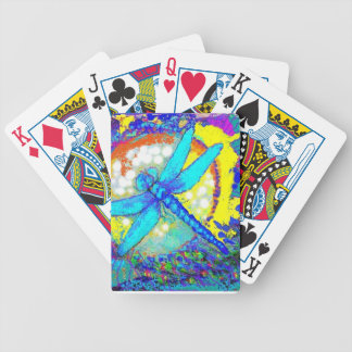 """Blue """"zinger"""" dragonfly bicycle playing cards"""