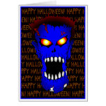Blue ZOMBIE Halloween cards
