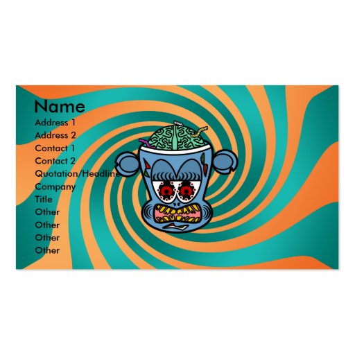 Blue zombie monkey on orange green stripes Double-Sided standard business cards (Pack of 100)