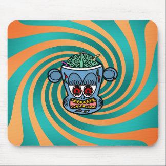Blue zombie monkey on orange green stripes mouse pad