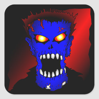 Blue Zombie pieces of Flair Square Sticker
