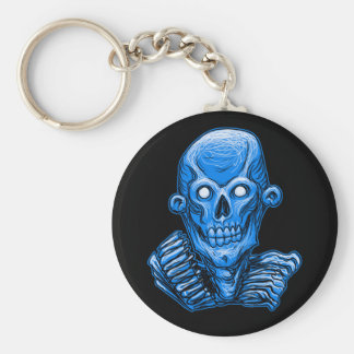 Blue Zombie Skull Head Keychain