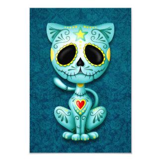 Blue Zombie Sugar Kitten Cat Card