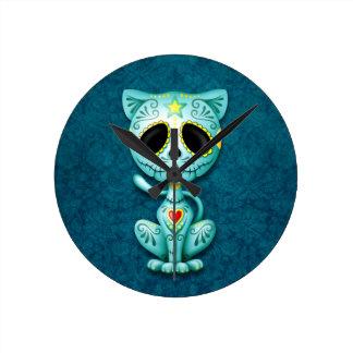 Blue Zombie Sugar Kitten Cat Round Clocks
