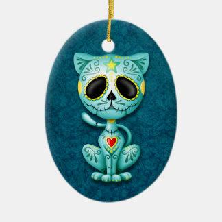 Blue Zombie Sugar Kitten Ceramic Ornament