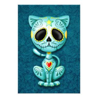 Blue Zombie Sugar Kitten Personalized Invites