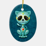 Blue Zombie Sugar Kitten Double-Sided Oval Ceramic Christmas Ornament